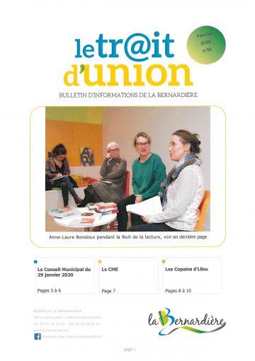 1ère page Trait d'Union # 56 Février 2020 La Bernardière