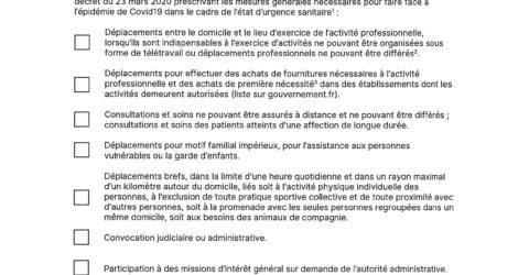 attestation dérogatoire du 23 mars 2020