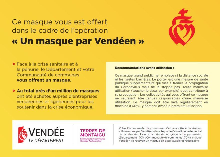 """Infographie - Opération """"Un masque par vendéen"""""""